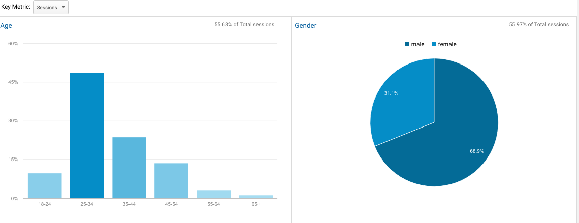 Google Analytics sessions metrics showing age and gender