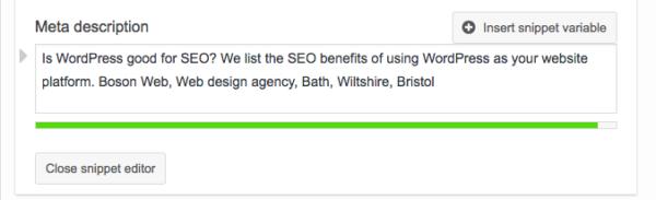 WordPress meta description areas
